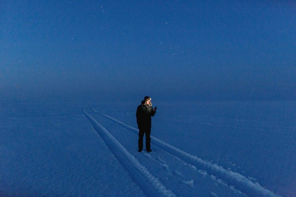 Winter lake by Renee Altrov