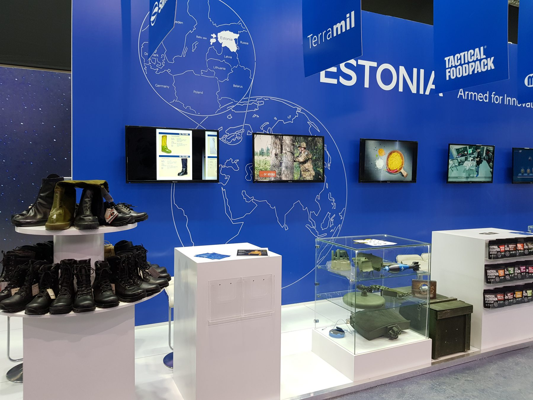 Expo booth with small military equipment