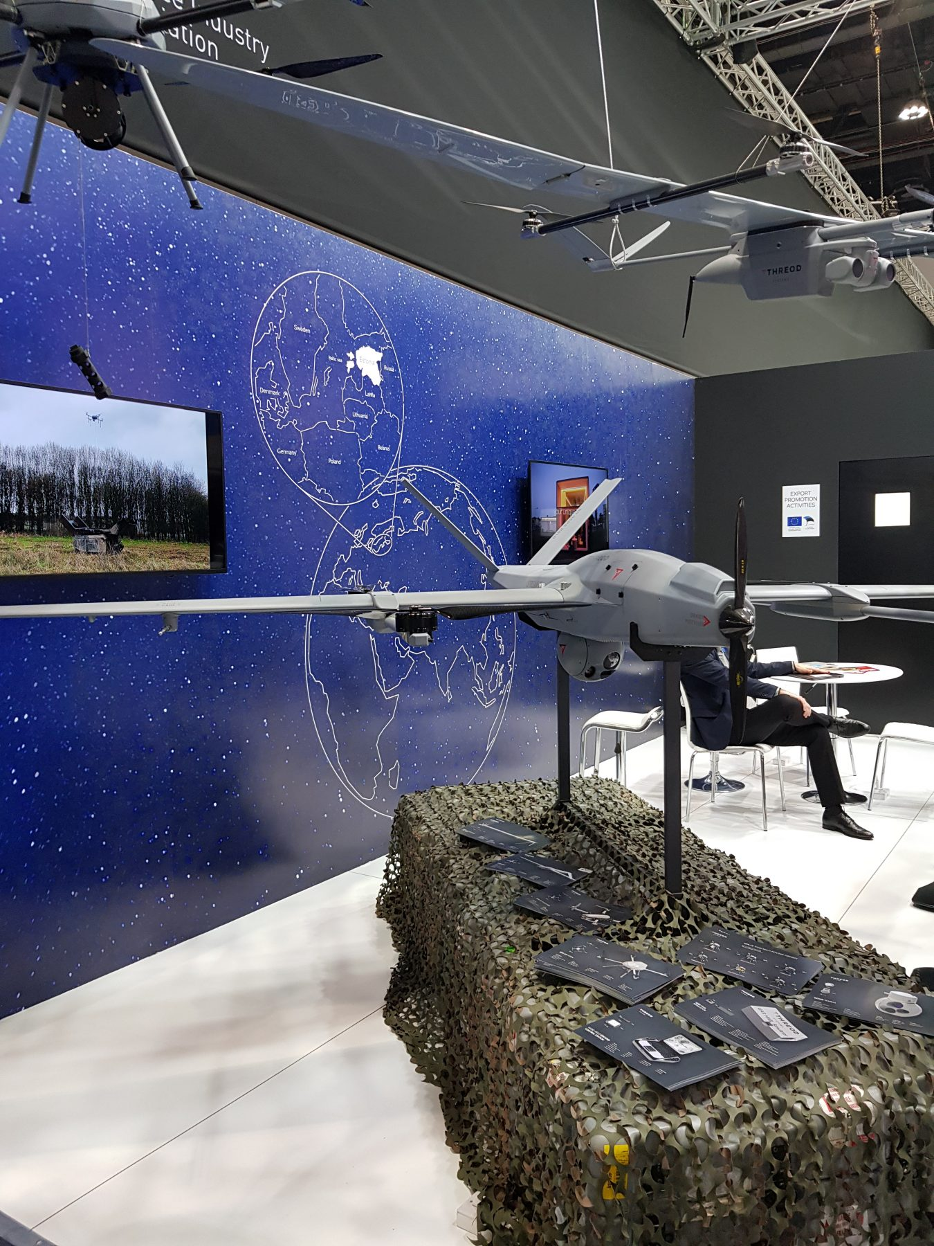 Expo booth with small military drone