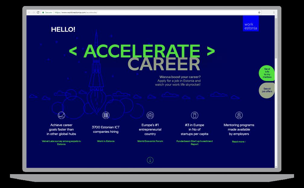 Accelerate career website screenshot