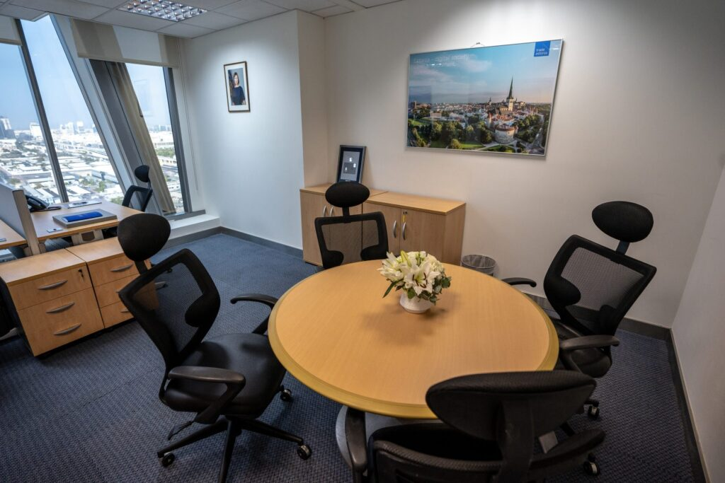 Office corner with four chairs