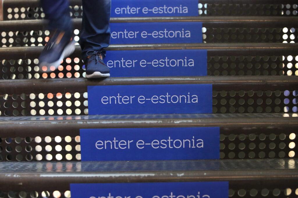 e-estonia logo on stairs