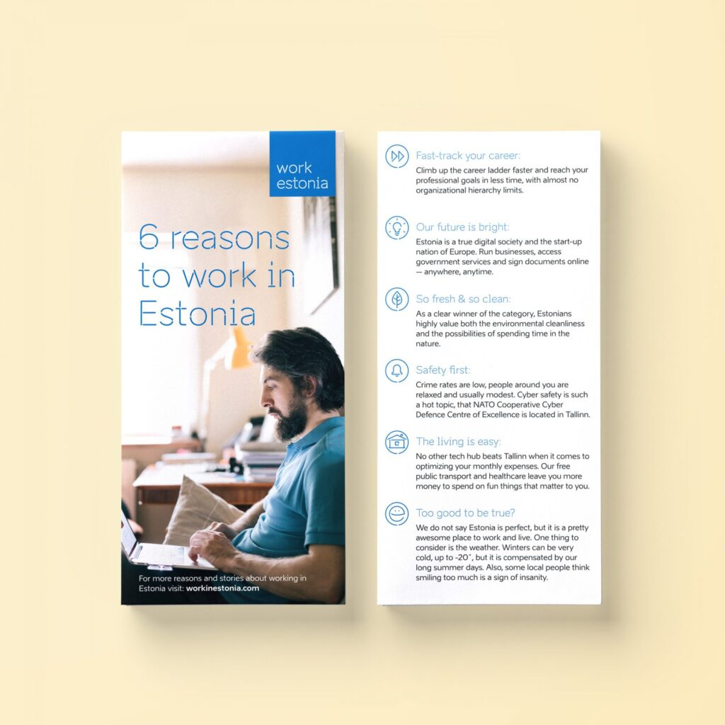 6 reasons to work in Estonia booklet design