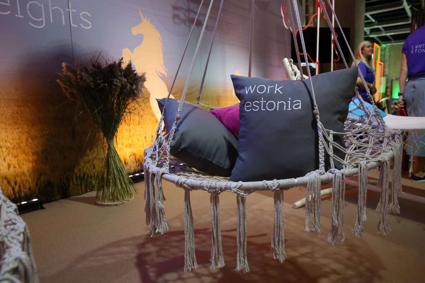 Swing with few pillows