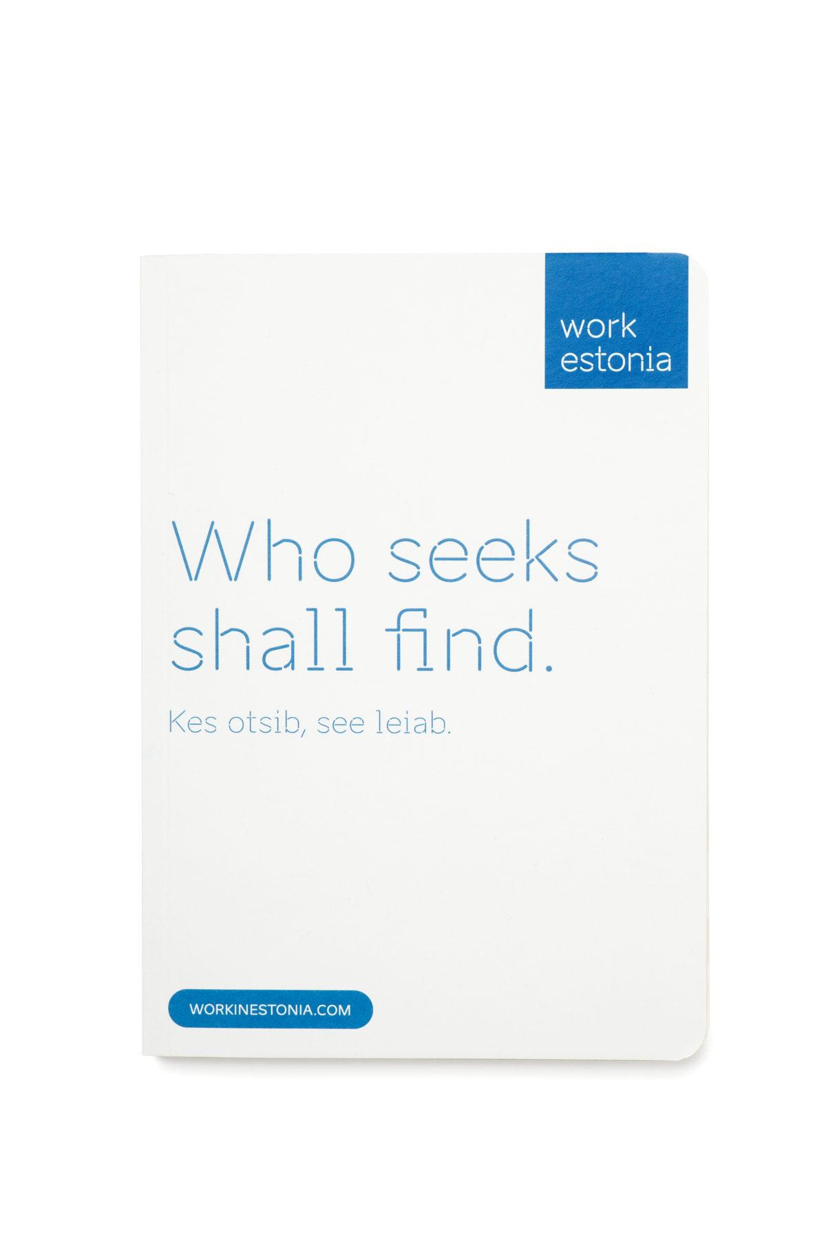 Work in Estonia notebook and pen
