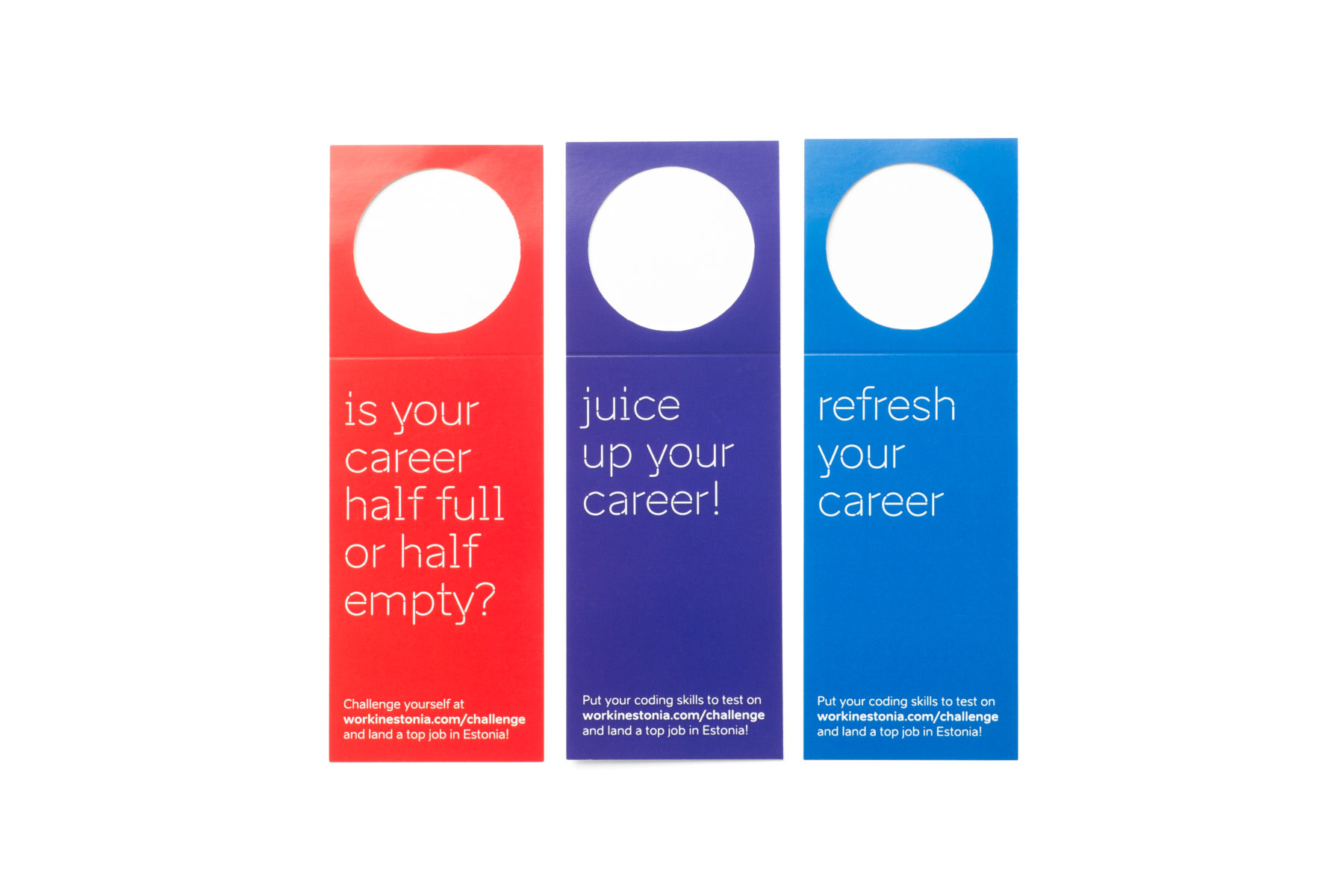 Three bottle neck tags with text