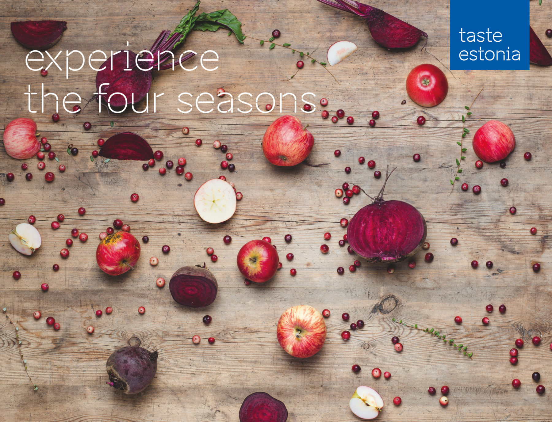 Taste Estonia photo wall with beets and apples