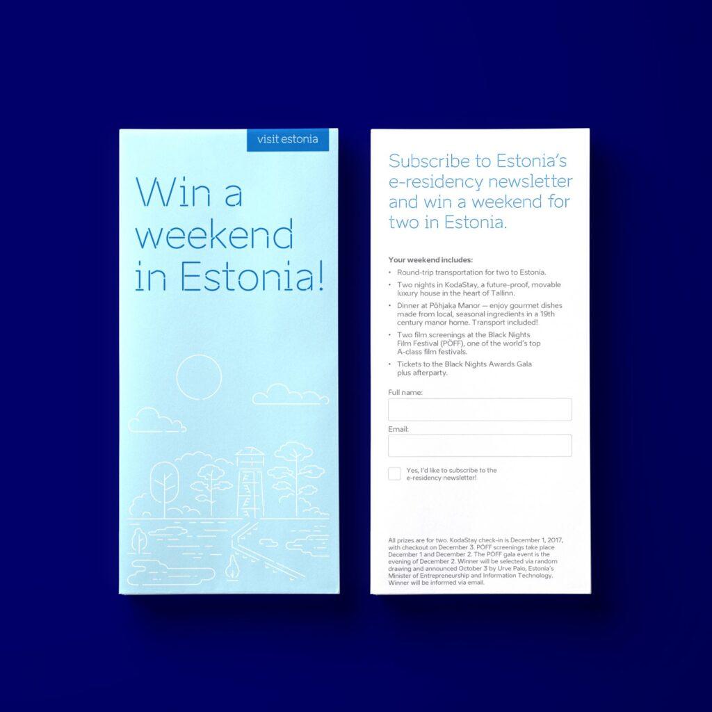 Win a weekend in Estonia printout design