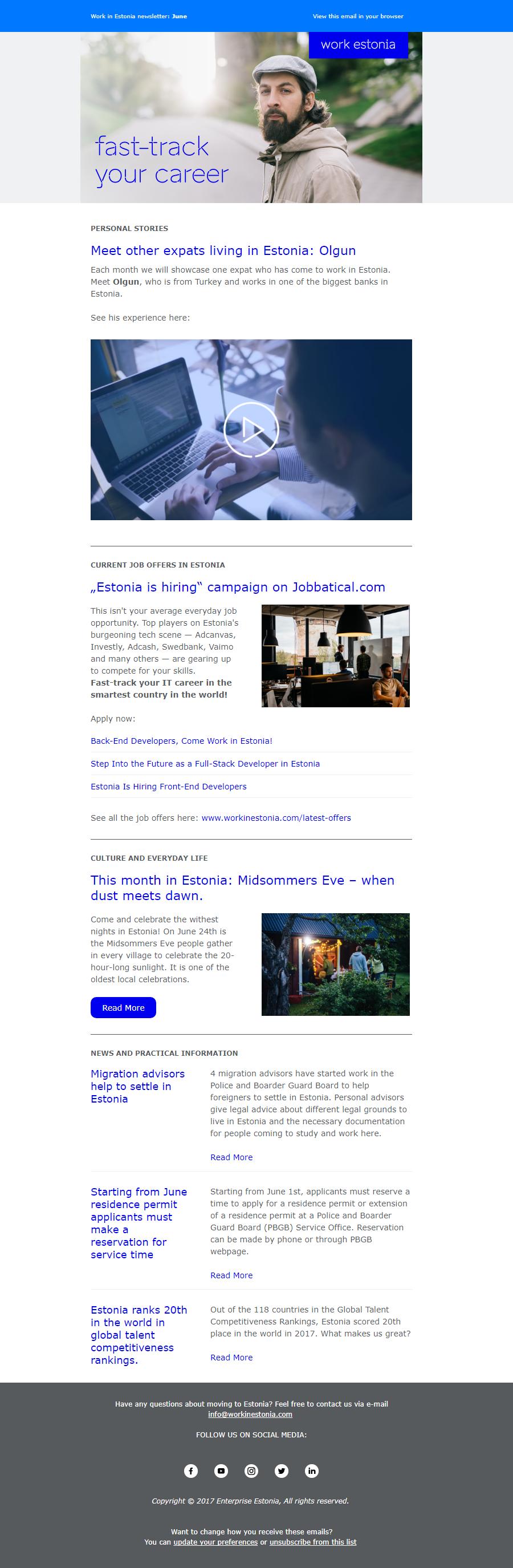 Work estonia newsletter design
